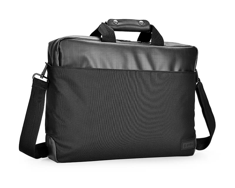 """EVOL 15.6"""" Core Water Resistant Laptop Briefcase Coated Polyester"""