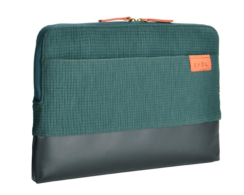 "EVOL Uluru 13.3"" Green Cotton/Coated Canvas Laptop Sleeve Cotton"