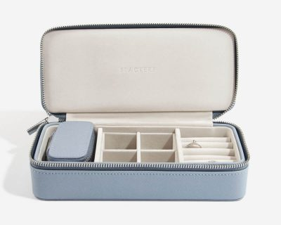 Dusky Blue Large Travel Jewellery Box