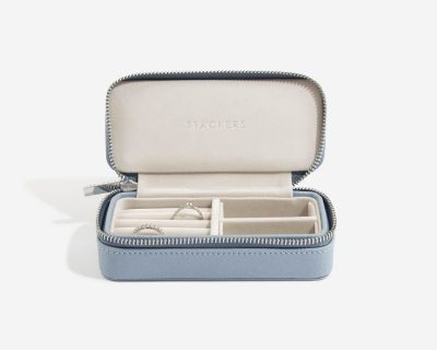 Dusky Blue Medium Travel Jewellery Box