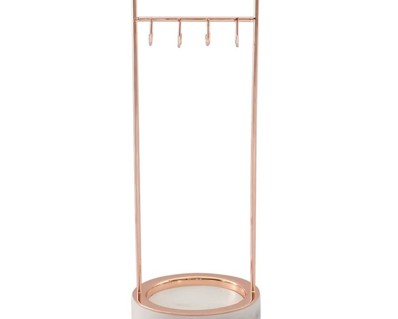 Large Marble 8 Hook Jewellery Stand